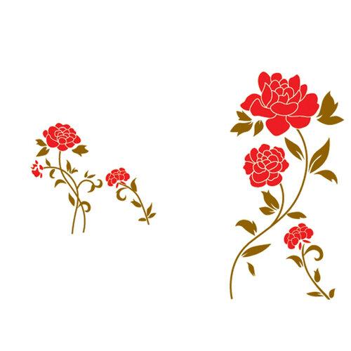 Samolepicí dekorace rudé květy