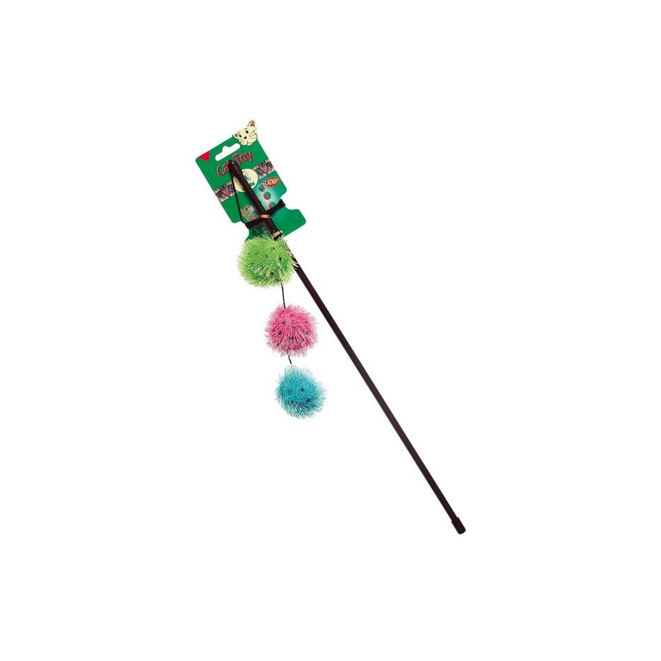 Karlie-Flamingo Wędka z piłeczkami, dzwoneczkiem i catnip, 50 cm