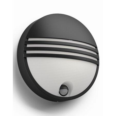 Philips 17297/30/16 Yarrow Venkovní nástěnné LED svítidlo s čidlem 21 cm, černá