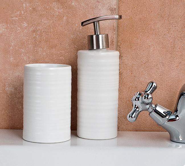 Sada dávkovače mýdla a kelímku na zubní kartáček, bílá