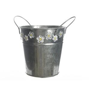 Zinkový květináč Flowers, 18,5 cm