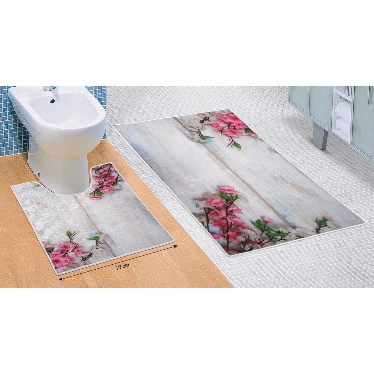 Bellatex Sada koupelnových předložek Květ růžová 3D, 60 x 100 cm, 50 x 60 cm