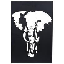 Koopman Závěsná kovová dekorace Slon černá, 30 x 40 cm
