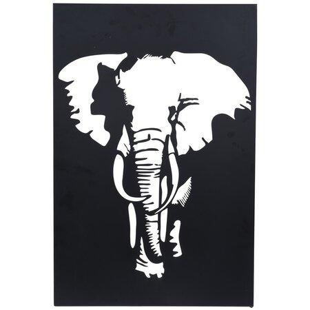 Závěsná kovová dekorace Slon černá, 30 x 40 cm