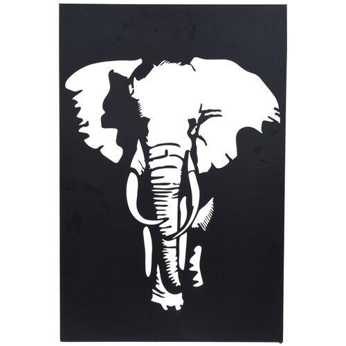 Závesná kovová dekorácia Slon čierna, 30 x 40 cm