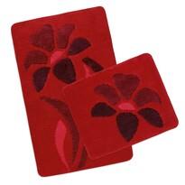 Komplet dywaników łazienkowych Ultra Kwiatek czerwony, 60 x 100 cm, 60 x 50 cm