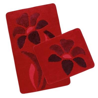 Sada koupelnových předložek Ultra Červená Kytka, 60 x 100 cm, 60 x 50 cm