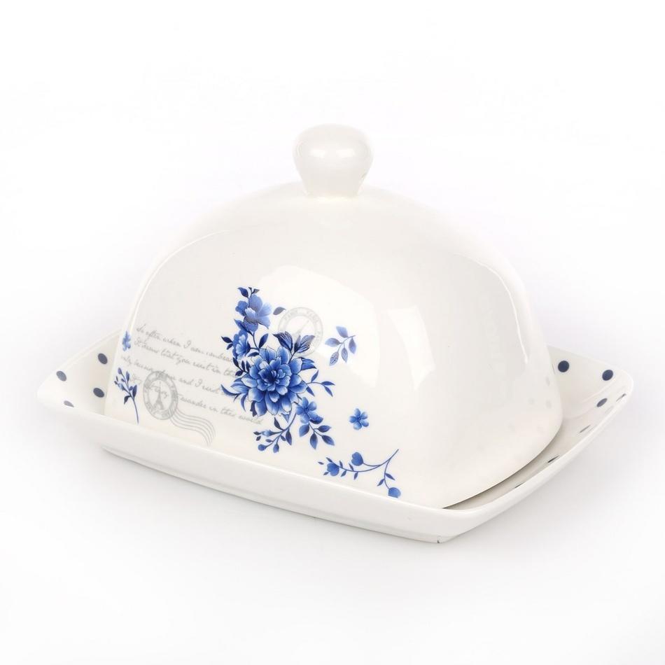INDIGO ROSE porcelánová máslenka,