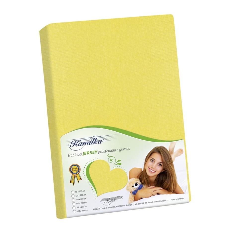 Bellatex Jersey prostěradlo Kamilka žlutá, 160 x 200 cm