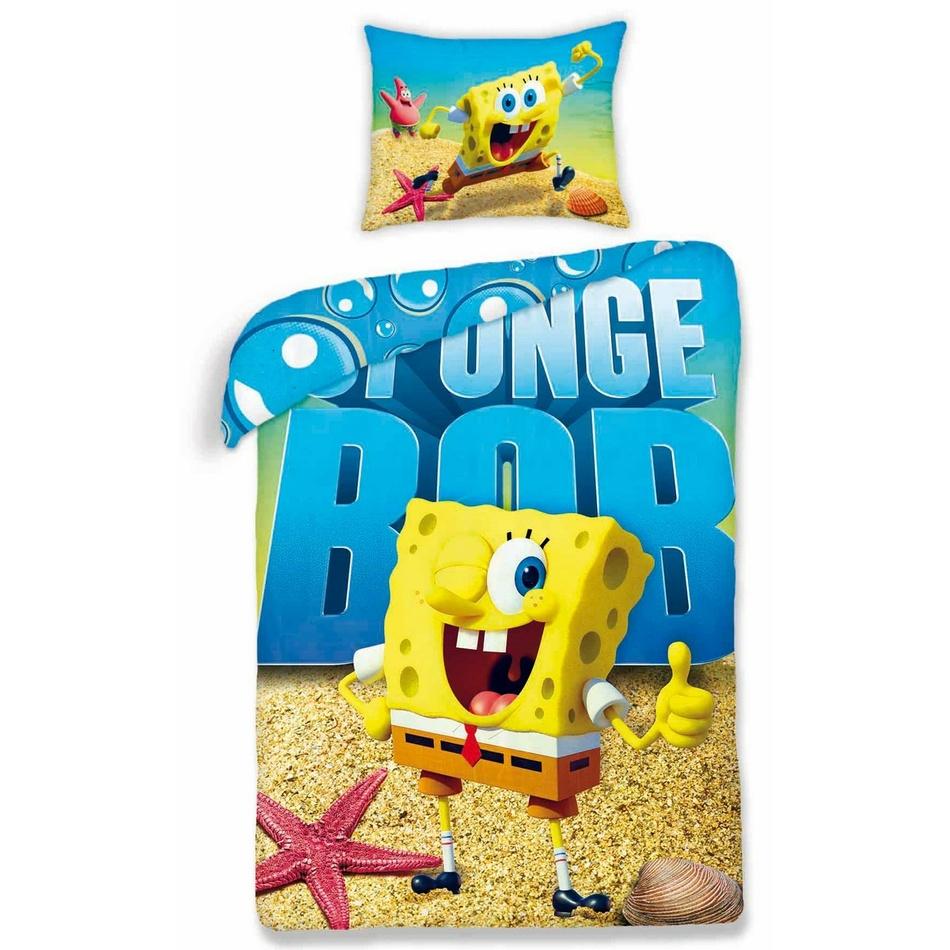 Halantex Dětské bavlněné povlečení Sponge Bob 0012, 140 x 200 cm, 70 x 80 cm