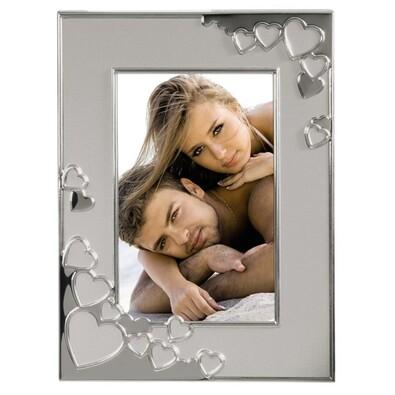 Kovový rámeček srdce 13 x 18 cm stříbrná