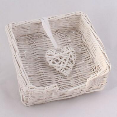 Proutěný košík na ubrousky bílý
