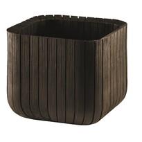 Keter Doniczka plastikowa Cube planter M brązowy, 30 x 30 x 30 cm