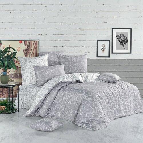 Lenjerie de pat din bumbac Flores, argintiu, 140 x 200 cm, 70 x 90 cm