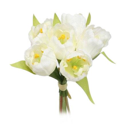 Umelá kvetina zväzok Tulipán, biela