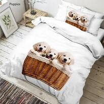 Lenjerie de pat din bumbac Căței 3D, 140 x 200 cm, 70 x 90 cm