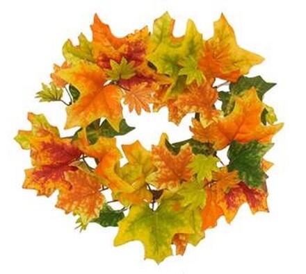 Umělý věnec podzimní s javorovými listy