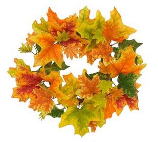 Umelý jesenný veniec s javorovými listami