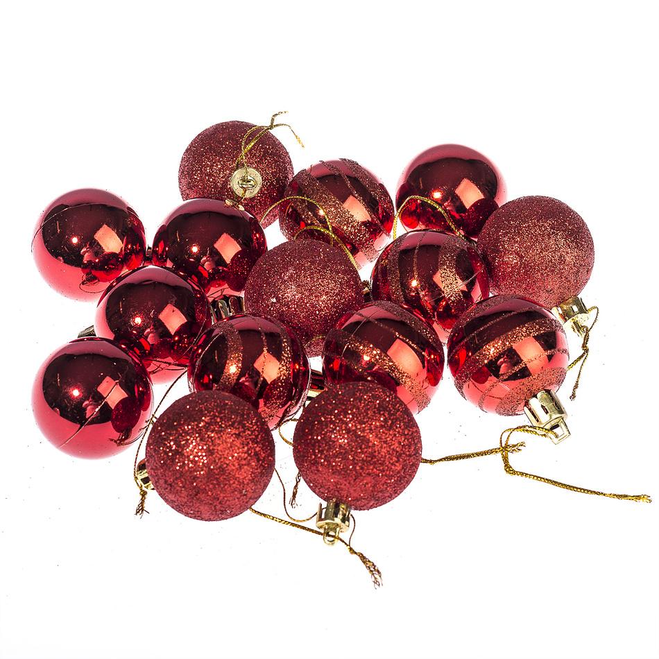 HTH Vánoční koule 15 ks červená pr. 4 cm