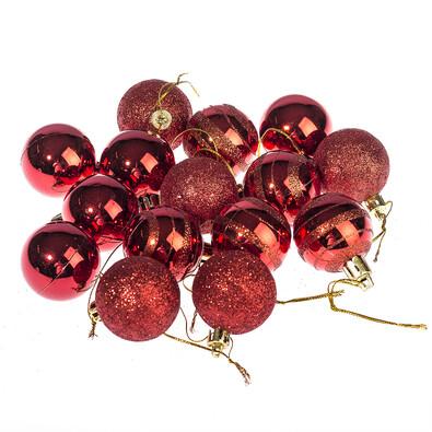 Vánoční koule 15 ks, červená