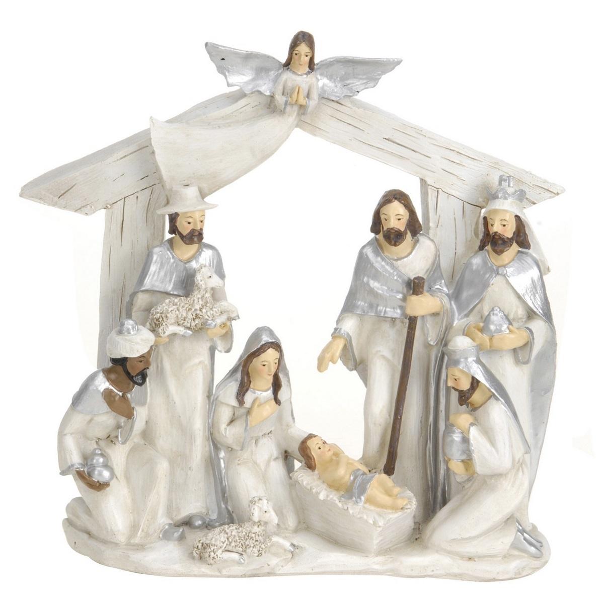 Vánoční dekorace Betlém stříbrná, 22 x 7 x 22 cm