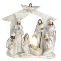 Dekoracja bożonarodzeniowa Stajenka, srebrna, 22 x 7 x 22 cm