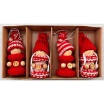 Vánoční dekorace Pletené panenky 4 ks, červená