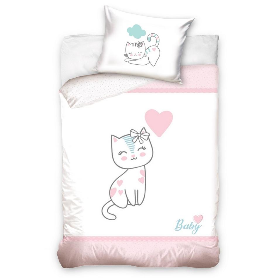 BedTex Detské bavlnené obliečky do postieľky Mačiatko ružová, 100 x 135 cm, 40 x 60 cm