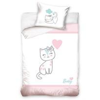 Kiscica gyermek pamut ágynemű kiságyba rózsaszín, 100 x 135 cm, 40 x 60 cm