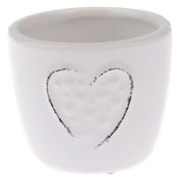 Keramický obal na květináč Little hearts bílá, pr