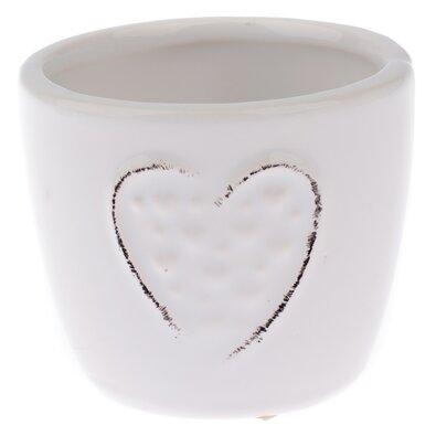 Keramický obal na květináč Little hearts bílá, pr. 7 cm