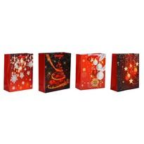 Karácsonyi ajándéktáska szett, 4 db-os, piros, 26 x 32 x 10 cm