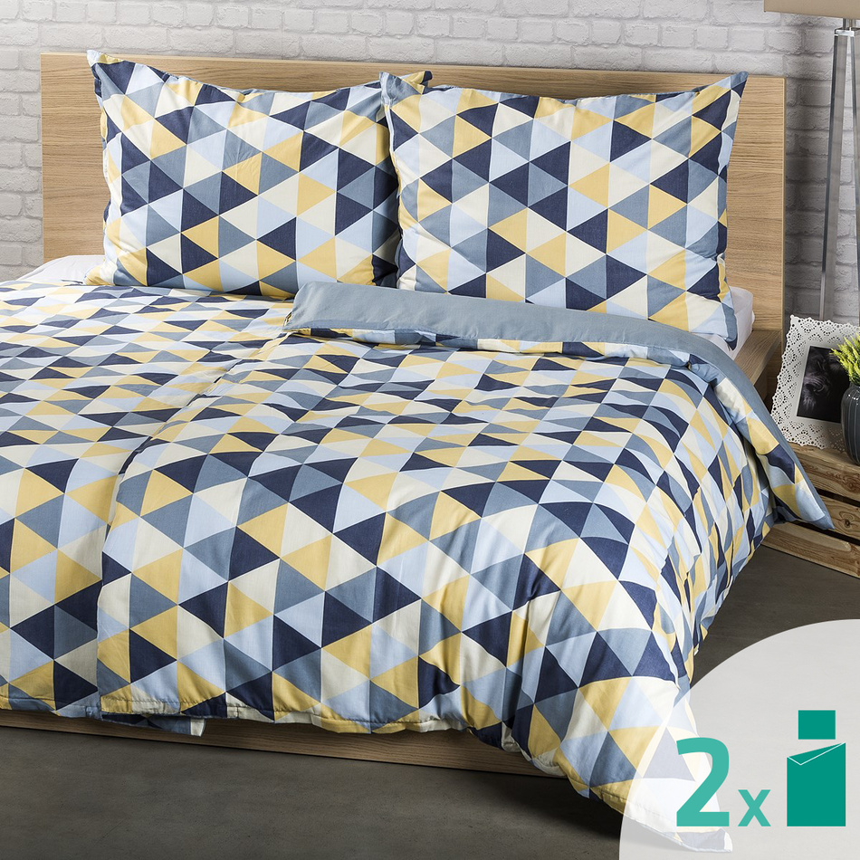 2 seturi lenjerie 4Home Trianglu albastru, 2 x 140 x 200 cm, 70 x 90 cm imagine