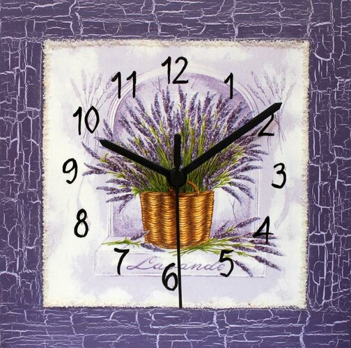 Nástenné hodiny Levanduľové okno 22 x 22 cm