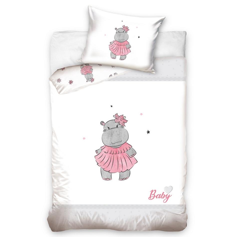 BedTex Detské bavlnené obliečky do postieľky Hrošík ružová, 100 x 135 cm, 40 x 60 cm