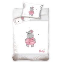 Víziló gyermek pamut ágynemű kiságyba, rózsaszín, 100 x 135 cm, 40 x 60 cm