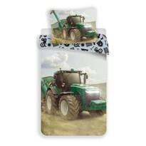 Lenjerie de pat din bumbac pentru copii Tractor green, 140 x 200 cm, 70 x 90 cm
