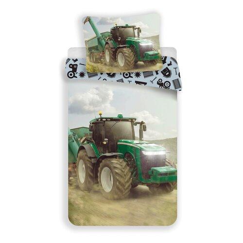 Dětské bavlněné povlečení Traktor green, 140 x 200 cm, 70 x 90 cm