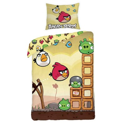 Dětské bavlněné povlečení Angry Birds yellow Game, 140 x 200 cm, 70 x 90 cm