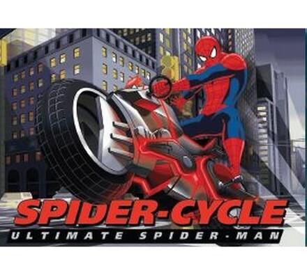 Dětský koberec Spiderman s motorkou, šedá, 95 x 133 cm