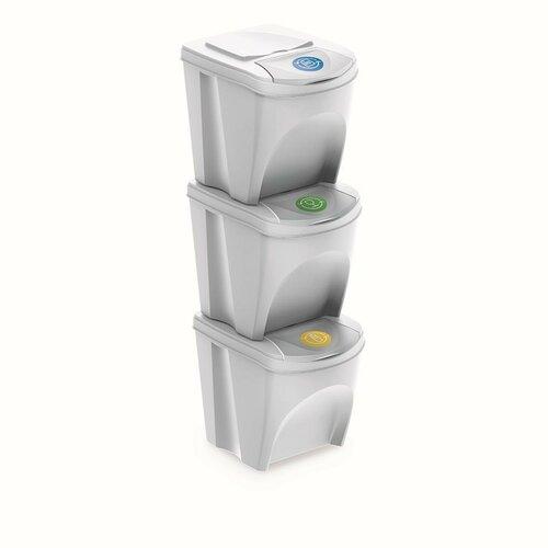 Kôš na triedený odpad Sortibox 25 l, 3 ks, biela