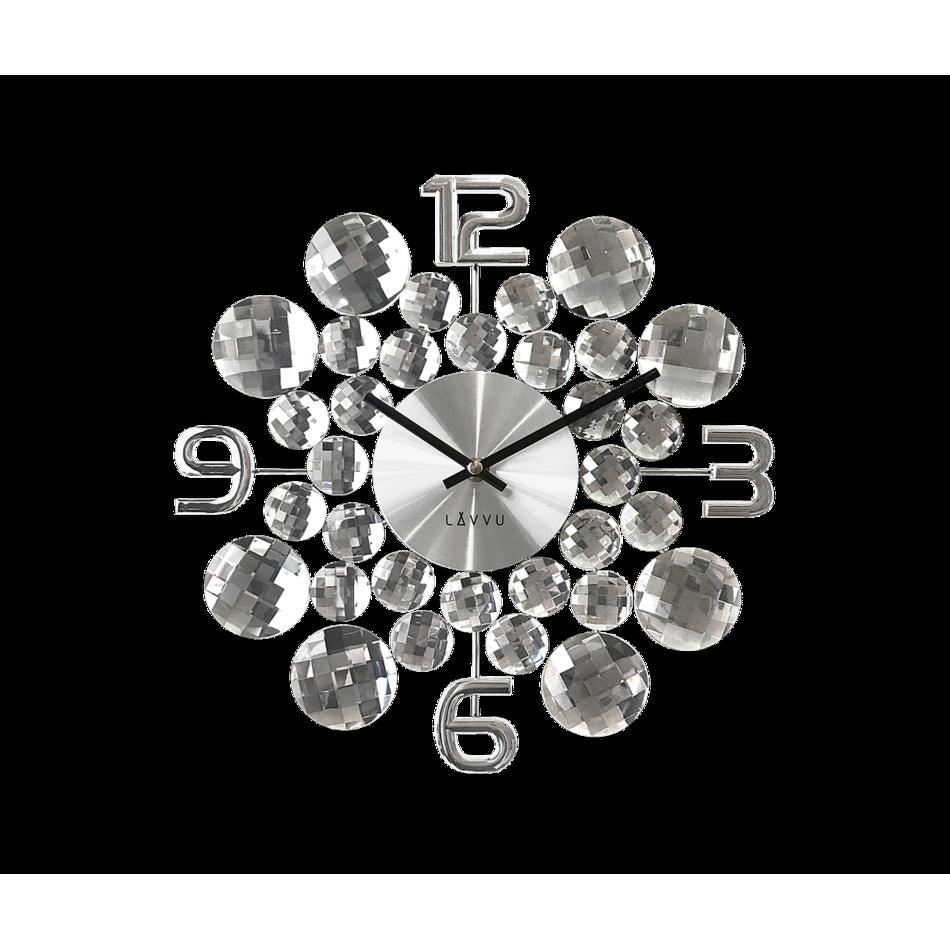 LCT1030 Nástěnné hodiny LAVVU CRYSTAL Jewel, stříbrná
