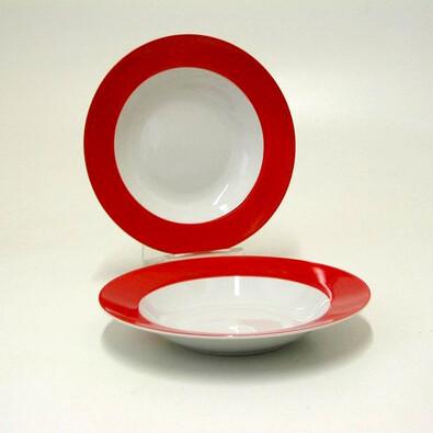 Hluboký talíř FUN NEW RED, sada 6 ks, bílá + červená