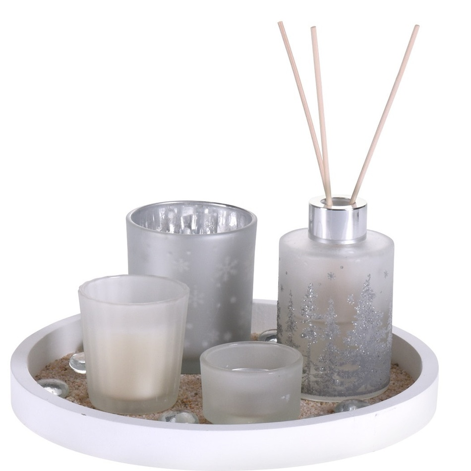 Dárková sada svíček a difuzéru Fragranza 5 ks, bílá