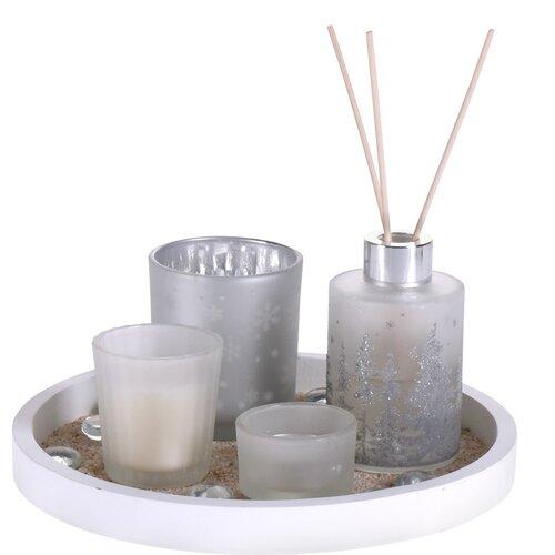 Darčeková sada sviečok a difuzéra Fragranza 5 ks, biela