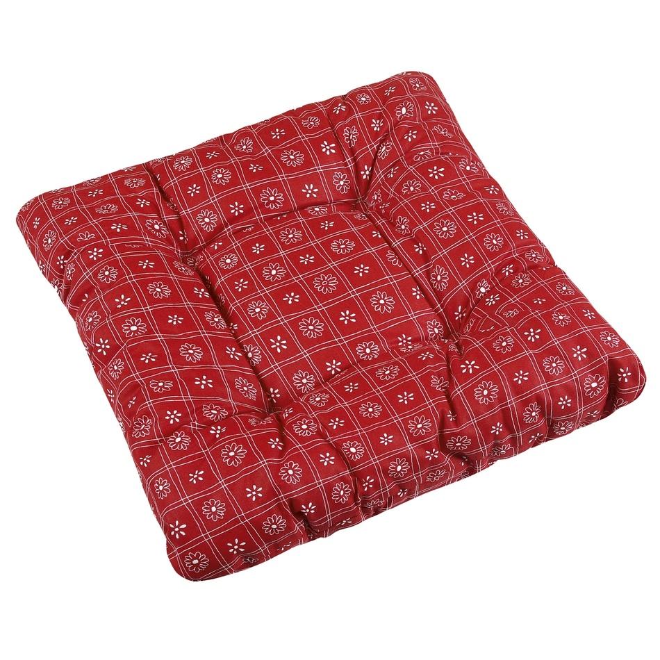 Bellatex Sedák Adela Štvorce červená, 40 x 40 cm