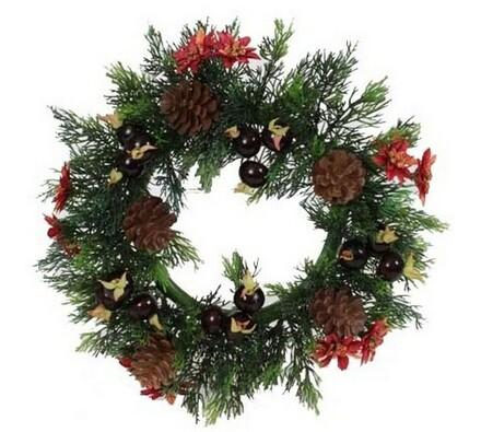 Dekorativní vánoční věnec - šišky a bobule, vícebarevná, pr. 30 cm