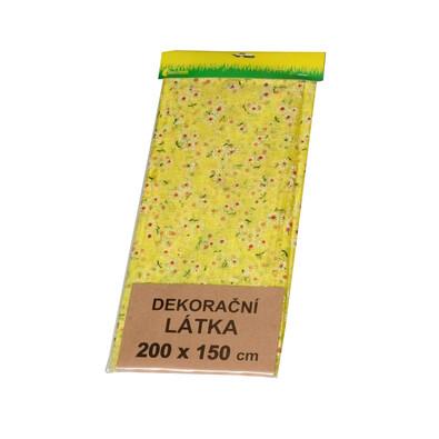 Organza s motivem sedmikrásek žlutá
