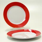 Mělký talíř  FUN NEW RED, 6 ks, bílá + červená