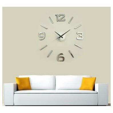 Ceas de perete StarDeco, argintiu, diam. 60 cm